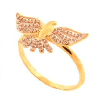 Anel divino com asas zirconia cristal. 141456