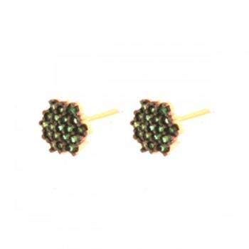 Brinco chuveiro 6 lados zirconia verde esmeralda. 150037