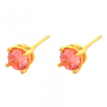 Brinco segundo furo redondo zirconia rosa 5mm. 150064