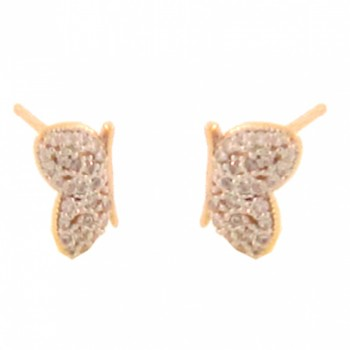Brinco borboleta pequena de lado zirconia cristal. 150872