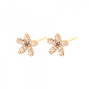 Brinco flor pequena miolo zirocnia azul, petalas zirconia cristal. 151605
