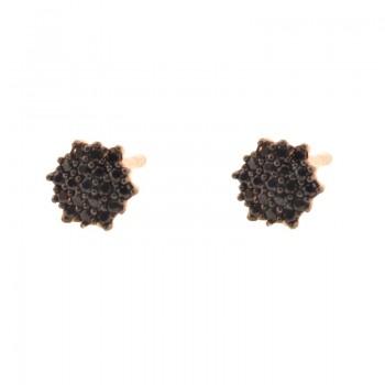 Brinco chuveiro 6 lados zirconia negra. 151620