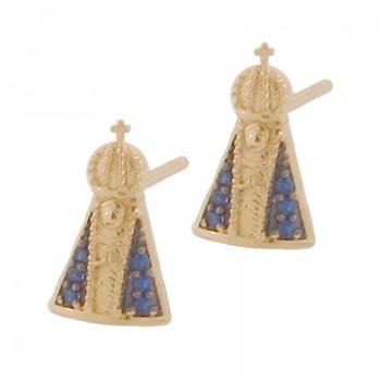 Brinco Nossa Senhora Aparecida com manto zirconia azul. 151944