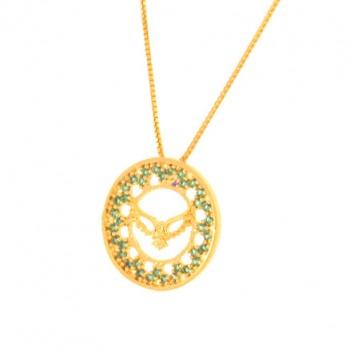 Colar divino com aro redondo pequeno zirconia verde paraiba. 160041