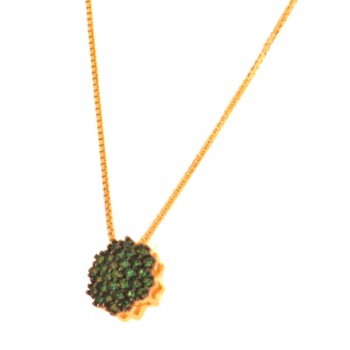 Colar chuveiro 6 lados zirconia verde esmeralda. 160052