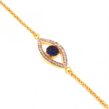 Pulseira olho grego zirconia azul no meio e zirconia cristal em volta. 160691