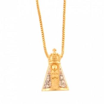 Colar Nossa Senhora Aparecida pequena com manto zirconia cristal. 160713