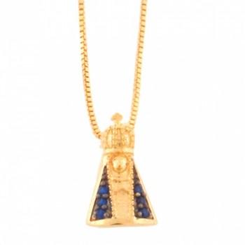 Colar Nossa Senhora Aparecida pequena com manto zirconia azul. 160715
