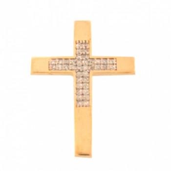 Pingente cruz lisa nas pontas e zirconia cristal no centro. 160844