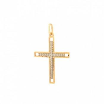 Pingente cruz zirconia cristal vazada nas laterais. 160849
