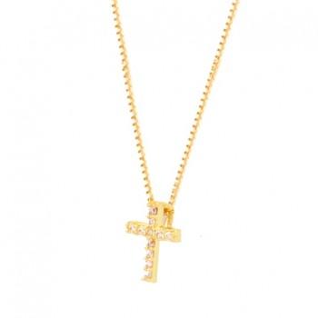Colar mini cruz zirconia cristal. 160868