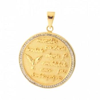 Medalha fruto do espirito com zirconia cristal em volta. 160874