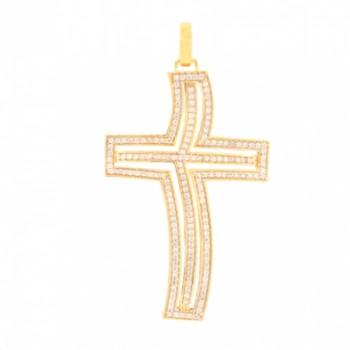 Pingente cruz grande vazada com zirconia cristal. 160953