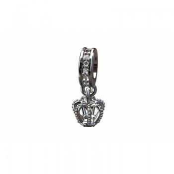 Berloque coroa em prata com passador zirconia cristal. 361129