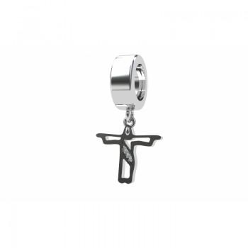 Berloque cristo redentor vazado em prata com zirconia cristal. 361130