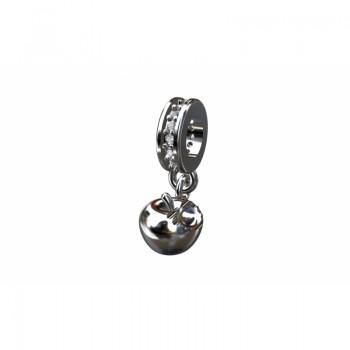 Berloque maca em prata com passador zirconia cristal. 361139