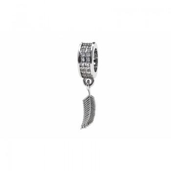 Berloque pena em prata com passador zirconia cristal. 361141