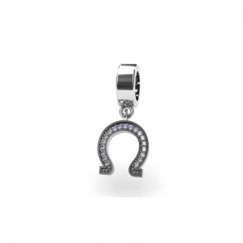 Berloque ferradura em prata com zirconia cristal. 361142