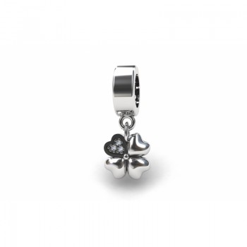 Berloque trevo em prata com detalhe zirconia cristal. 361145