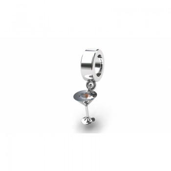 Berloque taca em prata com zirconia cristal. 361147