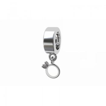 Berloque anel solitario em prata com zirconia cristal. 361150