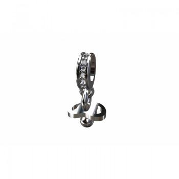 Berloque chupeta em prata com passador zirconia cristal. 361161
