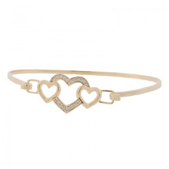 Bracelete coracao 3 coracoes, liso e zirconia cristal. 161247
