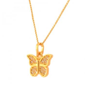 Colar borboleta pequena zirconia cristal. 161446