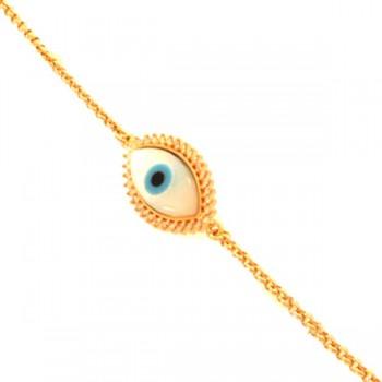 Pulseira olho grego em madre perola com zirconia cristal em volta. 161628
