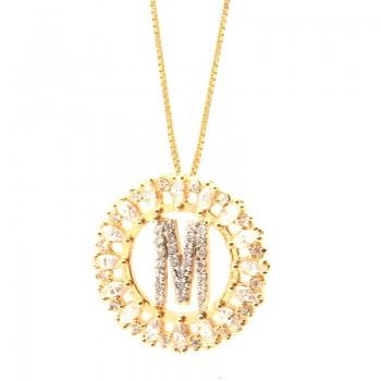 Colar letra M aro redondo com navete cristal e zirconia cristal. 161673M