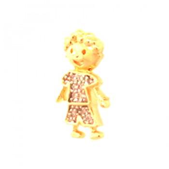 Pingente menino pequeno com shorts e blusa zirconia cristal. 161713