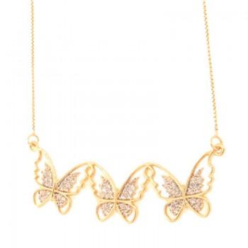 Colar 3 borboletas vazadas zircopnia cristal. 161769