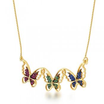 Colar 3 borboletas vazadas zirconia vermelha, verde, azul. 161770