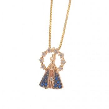 Colar Nossa Senhora Aparecida pequena com manto zirconia azul e aura zirconia cristal. 161847