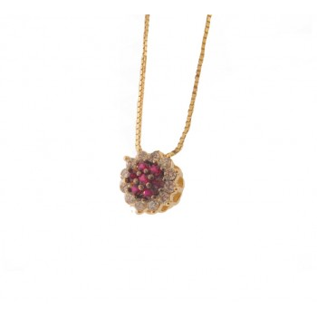 Colar flor zirconia vermelho rubi no centro e cristal em volta. 161887