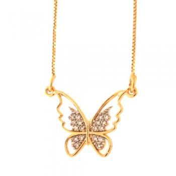 Colar borboleta vazada com zirconia cristal nas asas. 161947