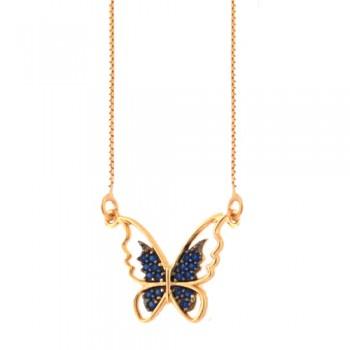 Colar borboleta vazada com zirconia azul safira nas asas. 161948