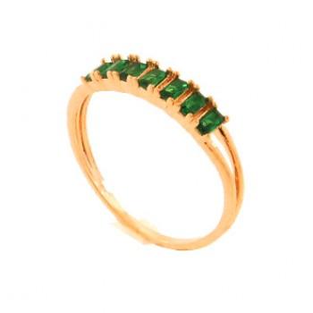 Anel 7 baguetes verde esmeralda. 141385